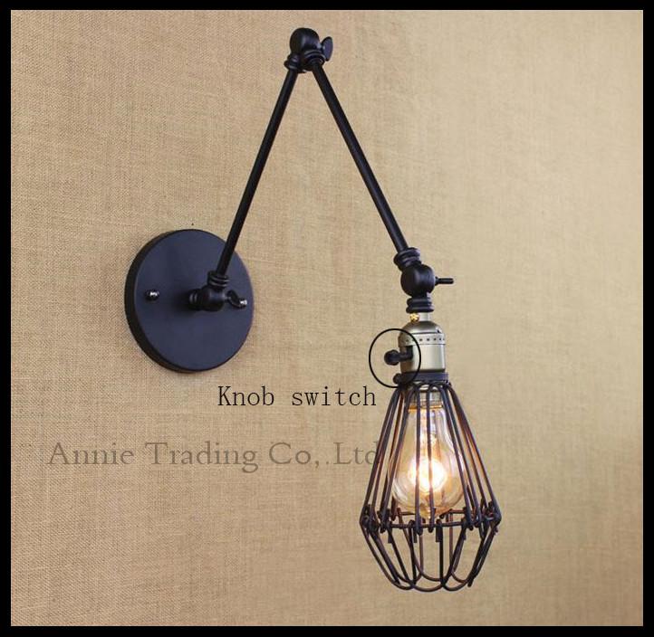 New Black 25+25cm double swing arms wall lights cage mesh metal shade knob switch luminaria industrial lamparas de techo abajur(China (Mainland))