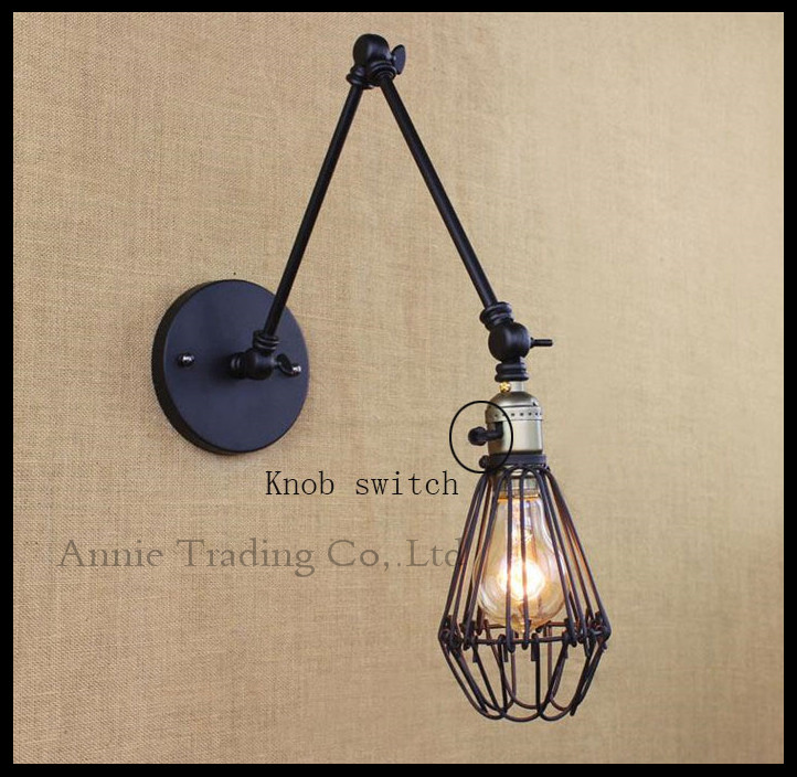 New Black 25+25cm double swing arms wall lights cage mesh metal shade knob switch luminaria industrial lamparas de techo abajur(China (Mainland))