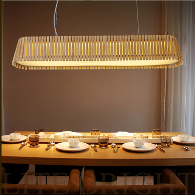 Japanese style country wood rectangular pendant light - Luminaire table a manger ...