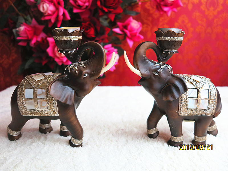 Southeast Asian style Thai elephant lovers roll nose ornaments Candlestick crafts shell crafts table decoration(China (Mainland))