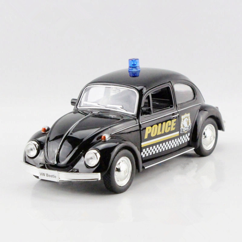 New Arrival 1:36 Scale Diecast Model Police Car Toys,Miniature Brinquedos, Pull Back Cars, Doors Openable Police Beetle Toy(China (Mainland))