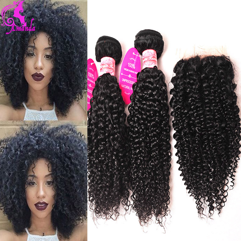 Malaysian Curly Hair With Closure 4 Bundles With Closure Human Hair With Closure Malaisian Kinky Curly Virgin Hair Lace Closure