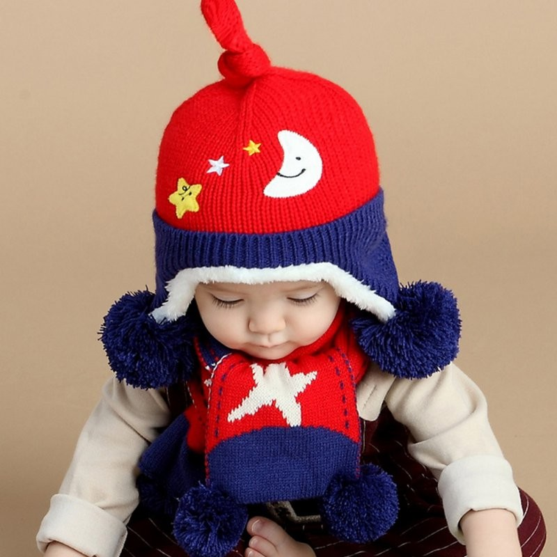 Toddler Kids Winter Scarf Hat set Star and Moon Wool Knitted Crochet Earflap Cap child caps scarf set baby cap Retail/Wholesale