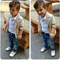 Wholesale Baby Boutique Clothing Kids Boy 3pcs set Blazer T Shirt Pants Gentleman Casual Wedding Suits