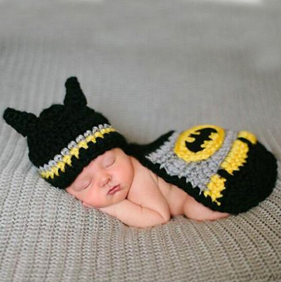 Newborn Baby Batman Hat Crochet Pattern Infant Photography Props Costume Set Handmade Baby Beanie Hat With Cover SY28(China (Mainland))