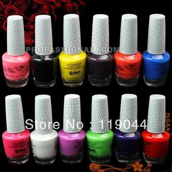 Free Shipping 18ml/pcs 12 Colors Sexy Crack Nail Art Polish Crackle Shatter Nail Art Varnish