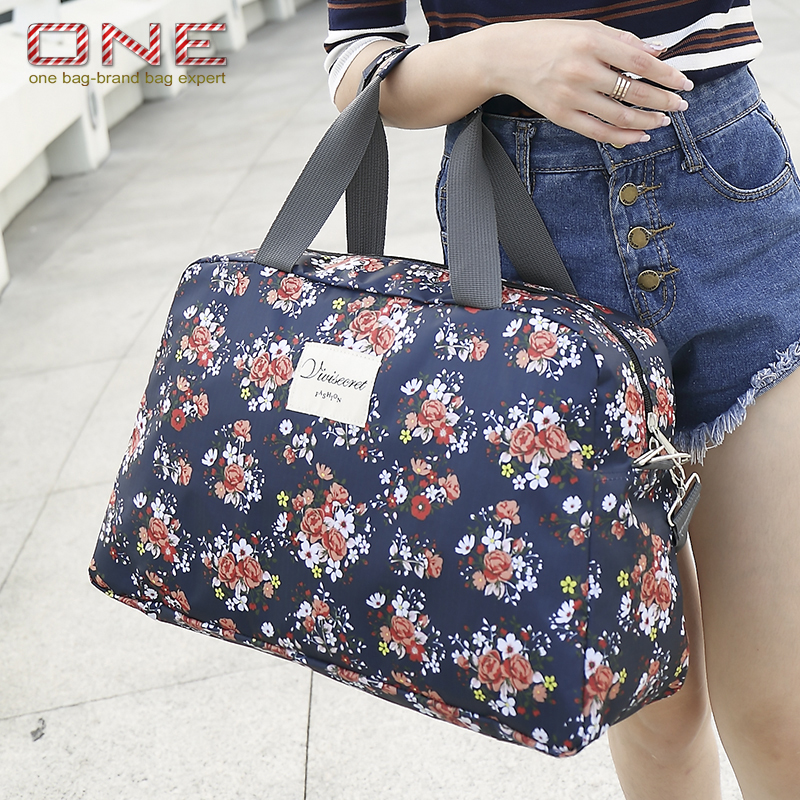 2016 New Fashion Women s Travel Bags Luggage Handbag Floral Print Women Travel Tote Bags Large