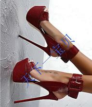 High Quality Women Genuine Leather 16cm High Heels Sandals Open Toe Snakeskin Ankle Wrap Sandals Wine Red Platform Sandals(China (Mainland))