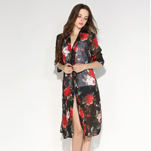 Blusas Women Boho Beach Kimono Cardigan Chiffon Floral Printed Half Sleeve Long Bikini Cover Up Casual Beach Coat Top Plus Size