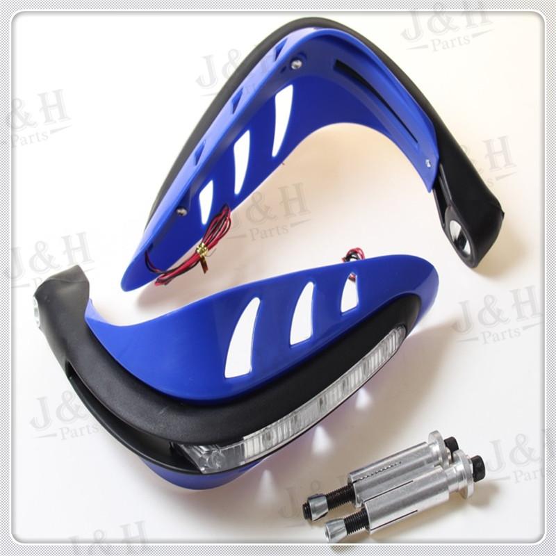 Free shipping blue Universal Handguard Motorcycle Motorcross Dirt Bike ATV Enduro Supermoto motorcycle LED Flash handguards(China (Mainland))
