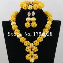 Crystal Yellow Wedding African Beads Jewelry Set Handmade Brides Crystal Balls Pendant Necklace Set 2016 New C000147(China (Mainland))