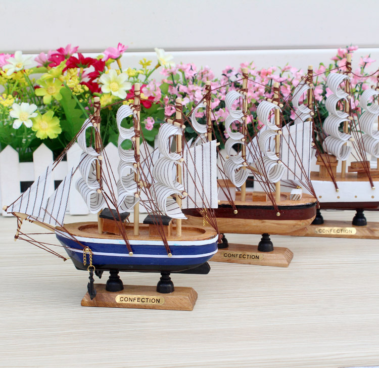2pcs/lot 16cm Mediterranean Wooden Sailing Boat Handmade Model SailBoat <font><b>Nautical</b></font> <font><b>Home</b></font> <font><b>Decoration</b></font> Crafts Gift