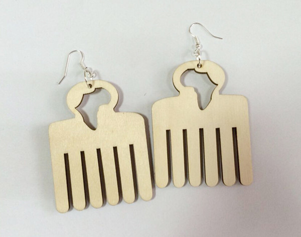 2014 New Arrival Personality DIY Unfinished Wooden African comb Earrings for Fashion Women 5pairs/lot(China (Mainland))