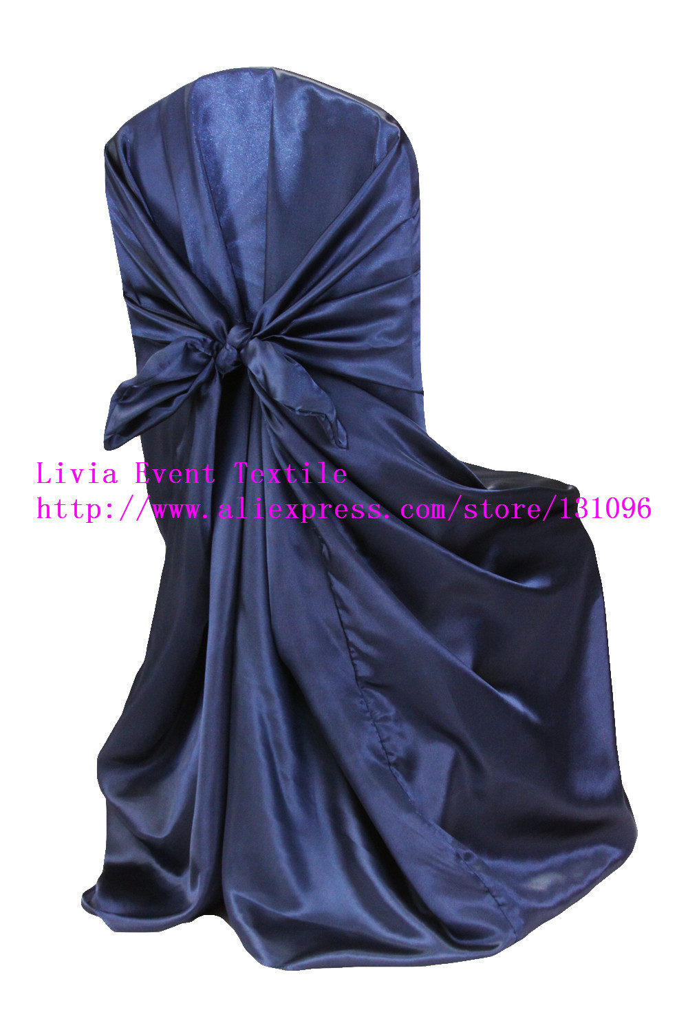 100pcs #51 Navy Blue Back Self tie Chair Cover,Universal Satin Chair Cover for Wedding Events &Party Decoration(China (Mainland))