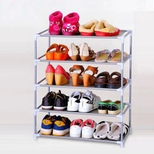 Portable folding metal shoe racks multilayer non woven fabric combination dustproof shoes shelf storage cabinet(China (Mainland))