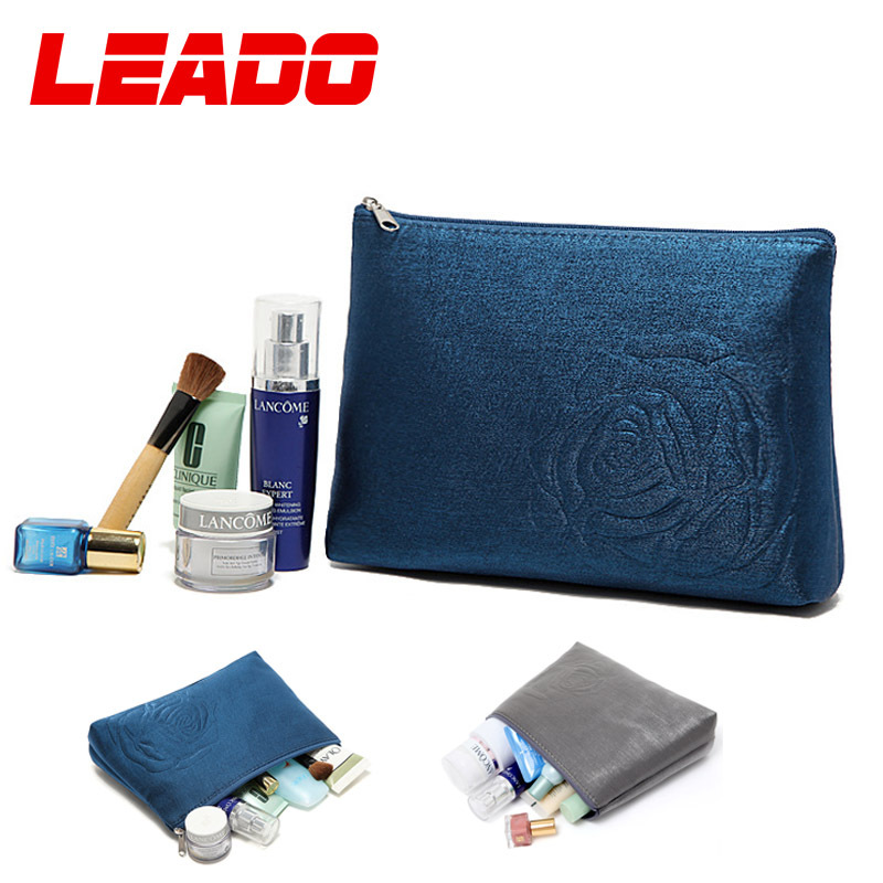 2014 Brand Women Cosmetic Bags Cases Clutches Girls Blue Gray Color Cosmetic Pouch Make Up Bag Necessaire Makeup Promotion LH019(China (Mainland))