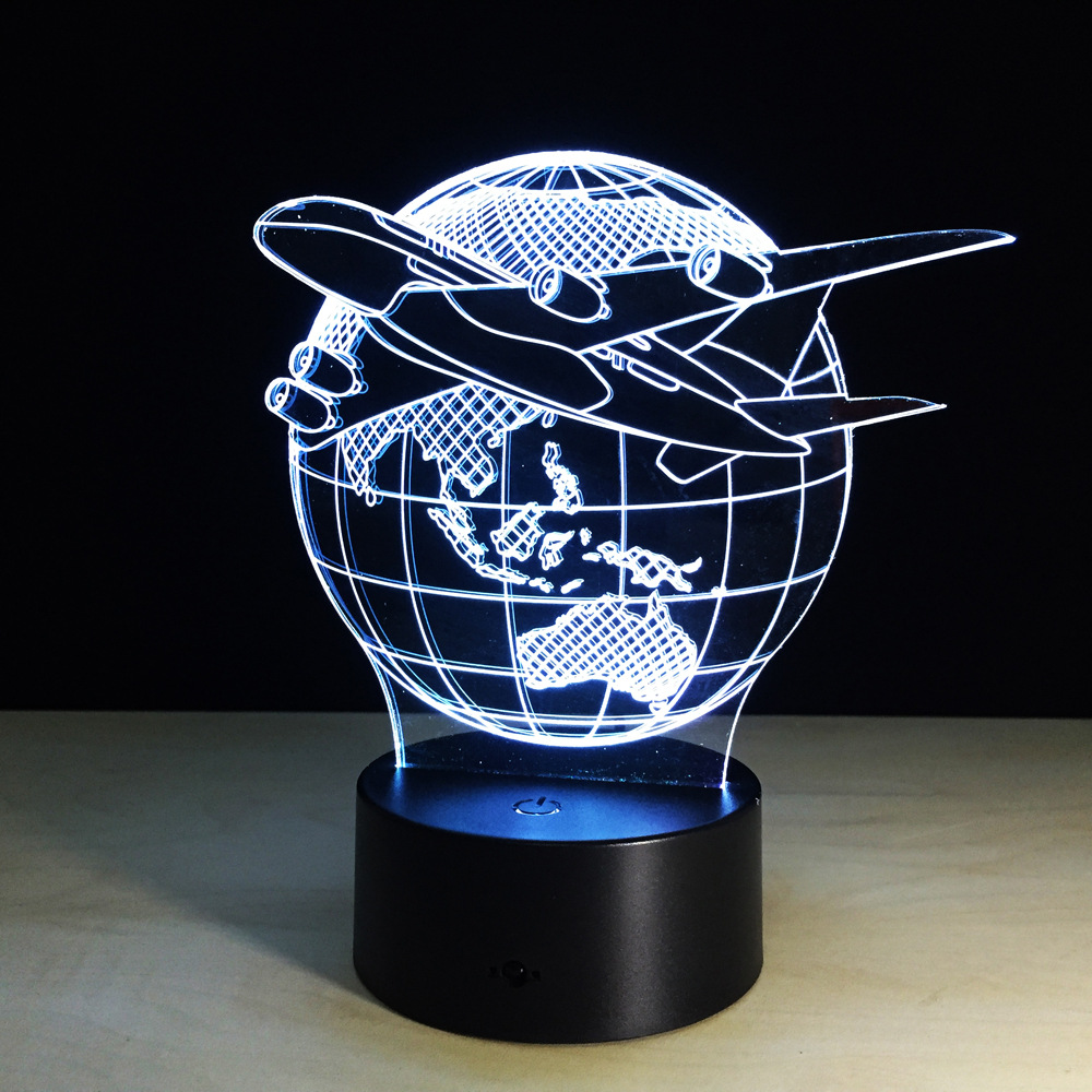 Plane Fly Earth 3D Lamp 7 Color change Remote Switch Small Night Light Colored lights Atmosphere lamp bedroom light For Gift