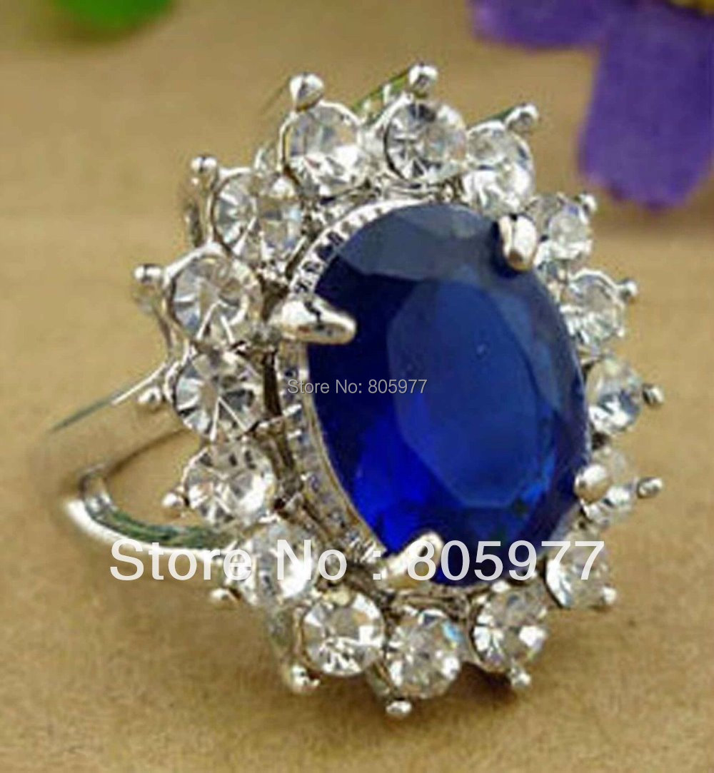 Free shipping!Wholesale Lots Kate Middleton Diana Blue Sapphire rings<br>
