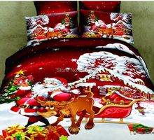 free shipping  christmas gift Santa Claus red 4pcs 3d bedding set queen king size doona duvet covers quilts bed Linen sets(China (Mainland))