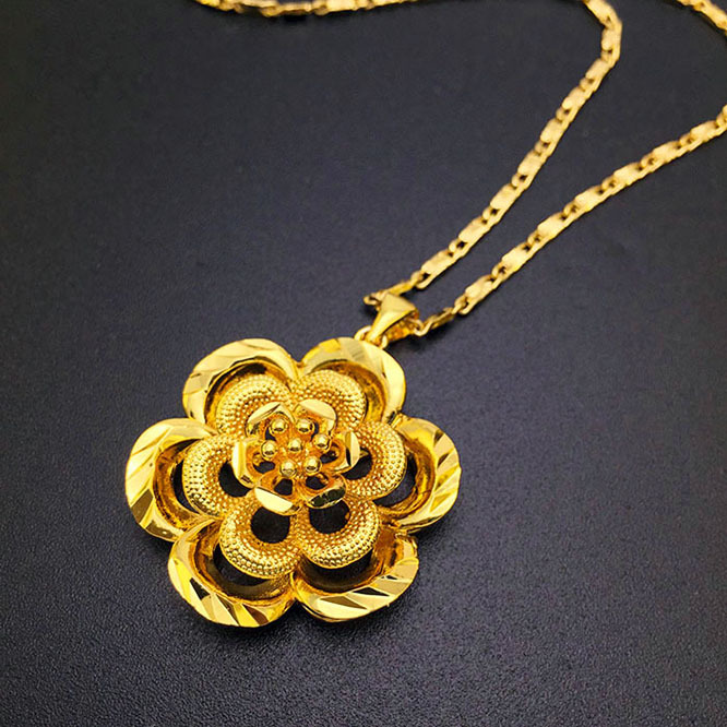 Gold rose petals 18k gold jewelry necklace pendant statement for women gold chain necklace jewelry 2015 new arrival A204(China (Mainland))