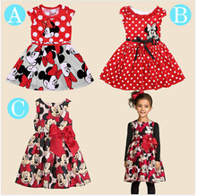 Free shopping 2015 nouvelle robe d'été Minnie Mouse robe filles vêtements impression par points robe sans manches robe fashion girl(China (Mainland))