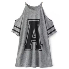 2016 Casual Korean Style Designer Brand Women's Tops Short Sleeve Grey Cold Shoulder Crew Neck Letter Print Loose T-Shirt(China (Mainland))
