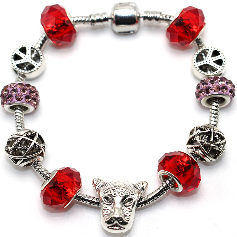 Red Glass Bead Crystal Alloy Tibetan Silver Charm Bracelet Bangle Women Elegant Jewelry Brand Design Friendship European Style(China (Mainland))