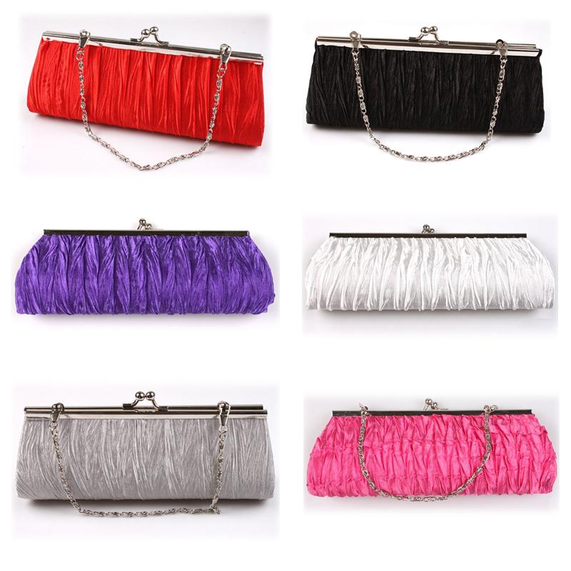 Fashion Satin Pleated Ruched Purse Ladies Bridal Evening Wedding Handbag Party Club Clutch Bag Free Shipping