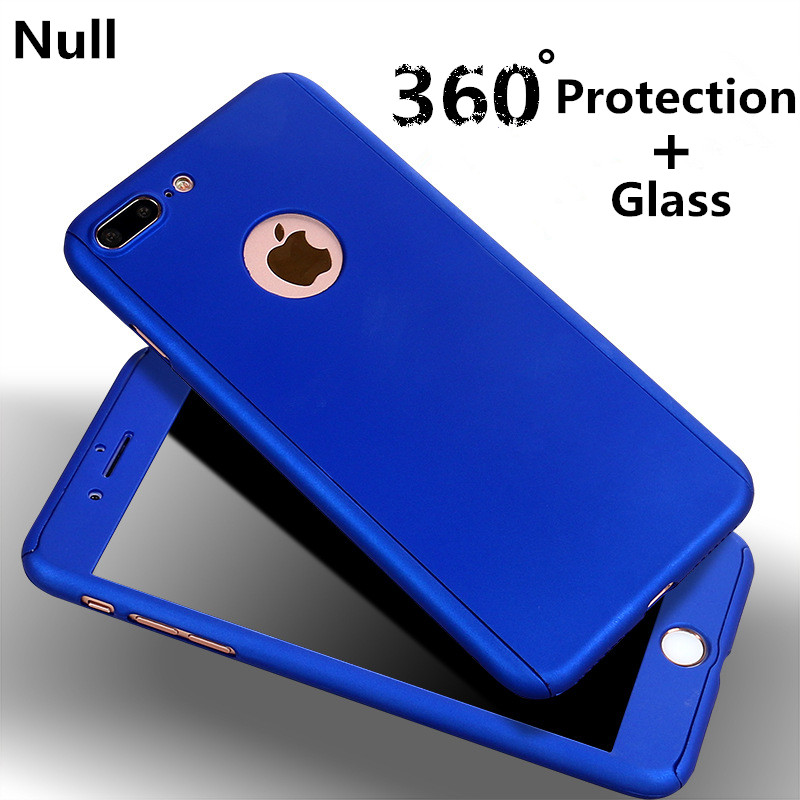 Fashion Luxury 360 Degrees Skin Silky Full Mobile Protection PC Cover+Glass For iphone 5s 6 6s 6plus 6s plus 7 7 plus Case Coque(China (Mainland))
