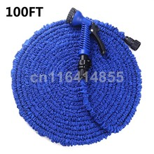 100FT Blue Garden Hoses Magic hose Stretched Working Lenght 30M Plastic Connector tuyau arrosage Watering Hose+7 set Spray Gun(China (Mainland))