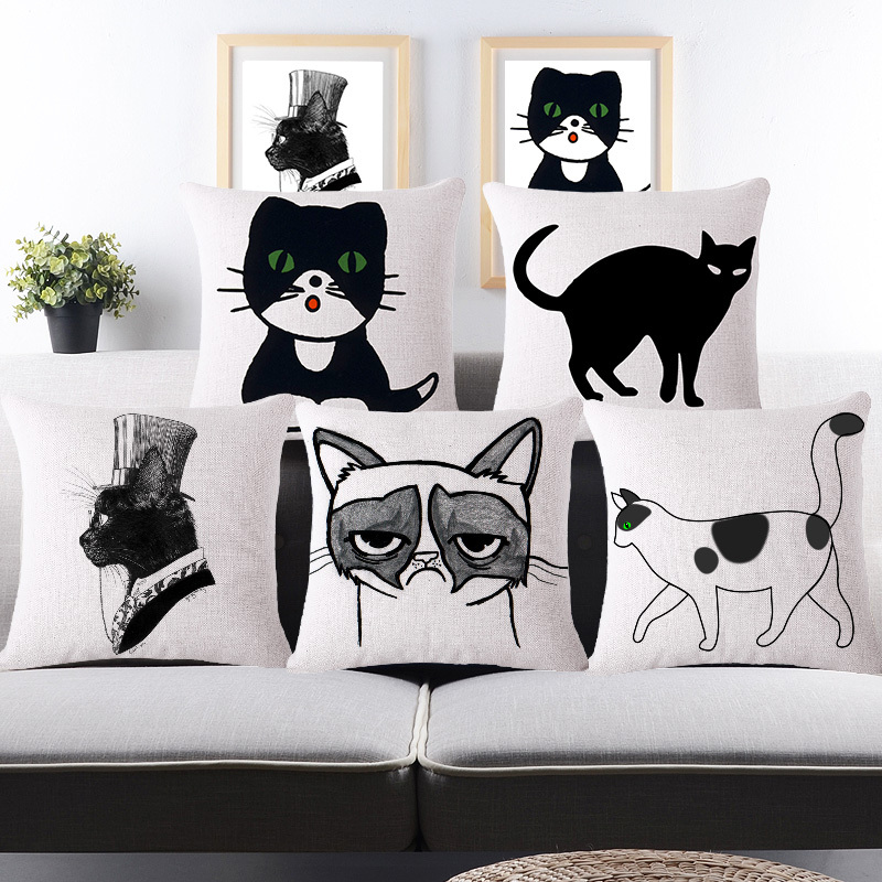 Cat Cushion Covers Cotton Linen Decorative Throw Pillow Covers Black White Cats Print Capa De Almofadas For Sofa Car Seat Chair(China (Mainland))