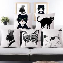 Cat Cotton Linen Cushion Covers Throw Pillow
