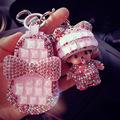 Bow Diamond Genuine Leather Car Key Wallets Women Housekeeper Holders Carteira Keychain Girls Crystal Zipper Key