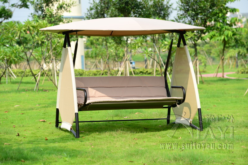 Outdoor Covered Swing Bench W Canopy Seats 3 Garden
