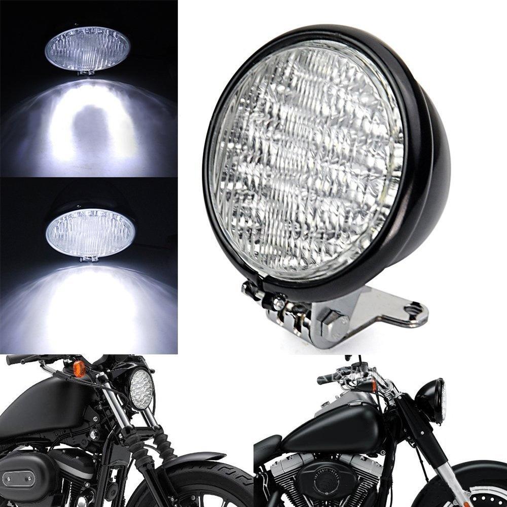 "12V Black Universal Motorcycle Headlight 5"" LED Head Lamp For Harley Bobber Chopper(China (Mainland))"
