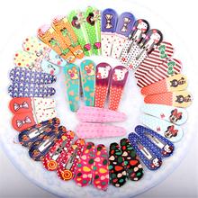 Cute Polka Dot Bow Animal Fabric Flowers Kit Slides Barrette Random Style BB Toddler Baby Headband Hair Clips for Girl 6Pcs/Lot