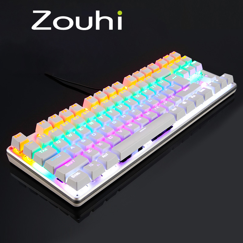 Mechanical Keyboard Tactile Backlit Colorful LED 87 Keys Anti-Ghosting Backlight 9 Modes Programmable Professional For Gaming(China (Mainland))