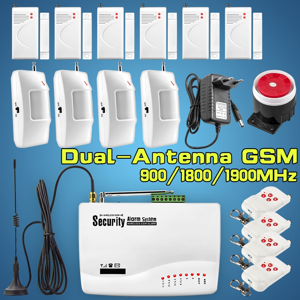 GSM Wireless Burglar Alarm Infrared Detector Door Magnetic Alarm Sensor Security Alarm System