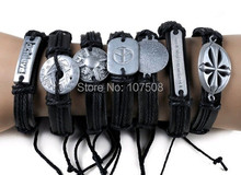 10pcs Tribal Men's Alloy leather bracelet cuff Jewelry JOB LOTS WHOLESALE bulk