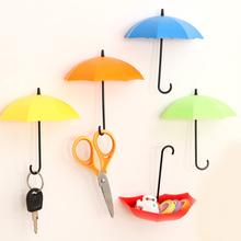 3Pcs/lot Umbrella Shaped Cute Creative Self Adhesive  Bathroom Kitchen Wall Door Hook Hanger Holder Storage box  For Keys Bags(China (Mainland))