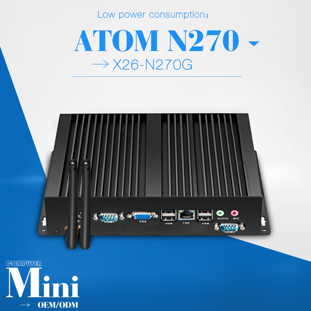 The cheapest ATOM N270 fanless pc for 4g ram 16g ssd 1*RJ-45 8*usb with 12v power adapter laptop computer mini pc thin client(China (Mainland))