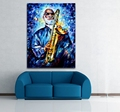 100 Handpainted Palette Knife Painting Jazz Music Musician Clown Play Instrument Canvas Wall Art for Home