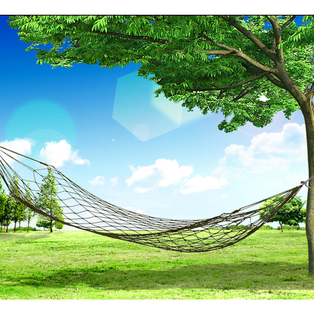 Promotion Nylon Brief Design Outdoor Travel Camping Hammock Rest Tools Garden Portable Hanging Mesh Net Sleeping Bed(China (Mainland))