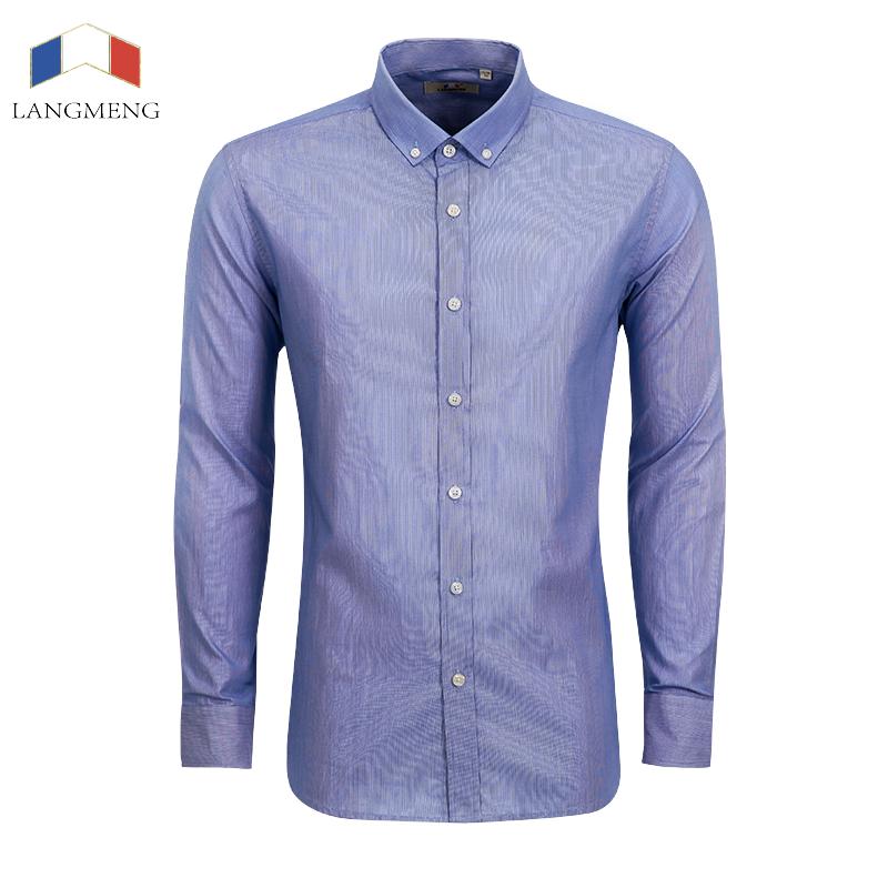 Langmeng Brand 100 Cotton Dress Shirt Men Spring Autumn
