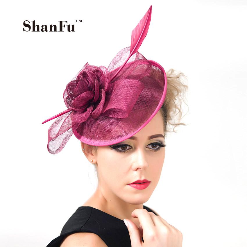 ShanFu 2015 Vintage Lady Sinamay Sagittate Feather Fascinator Fuchsia Fascinator Headband for Party Church Hats C12341(China (Mainland))