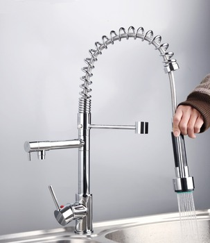 New Free Shipping Pull Out UP& Down With Sprayer Kitchen Sink Chrome Brass Deck Mounted CQ0002 Mixer Tap Faucet