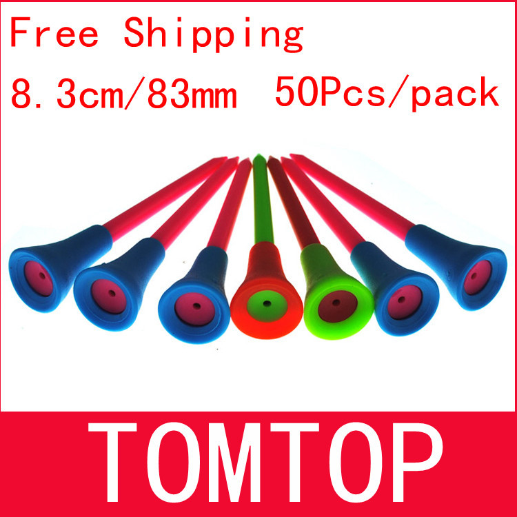 Free Shipping 50pcs/bag Multi Color 8.3CM Plastic New Golf Tees Rubber Cushion Top(China (Mainland))