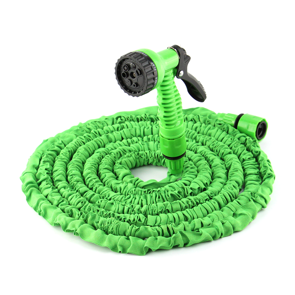 50ft expandable flexible magic water hose pipe with spray nozzle gun garden hose retractable water pipe + joint green(China (Mainland))