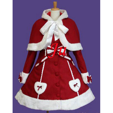 Free Shipping Gothic Lolita Punk Sweet Wool Coat Cape Dress Cosplay Costume Tailor-made