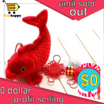 New year gifts 22cm height Red fish PP cotton Plush Toy Stuffed Animal Doll Creative Christmas gifts kids(China (Mainland))